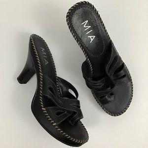 Mia Black Leather Strappy Criss Cross Sandals Sz 8